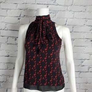 Milly Red and Black Silk Tie Neck Blouse